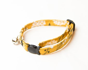 Yellow Dandelion Flower Breakaway Cat Collar, Yellow Dandelion Collar, Dandelion Pattern Collar, Pattern Cat Collar, Cat Flower Collar, Cat