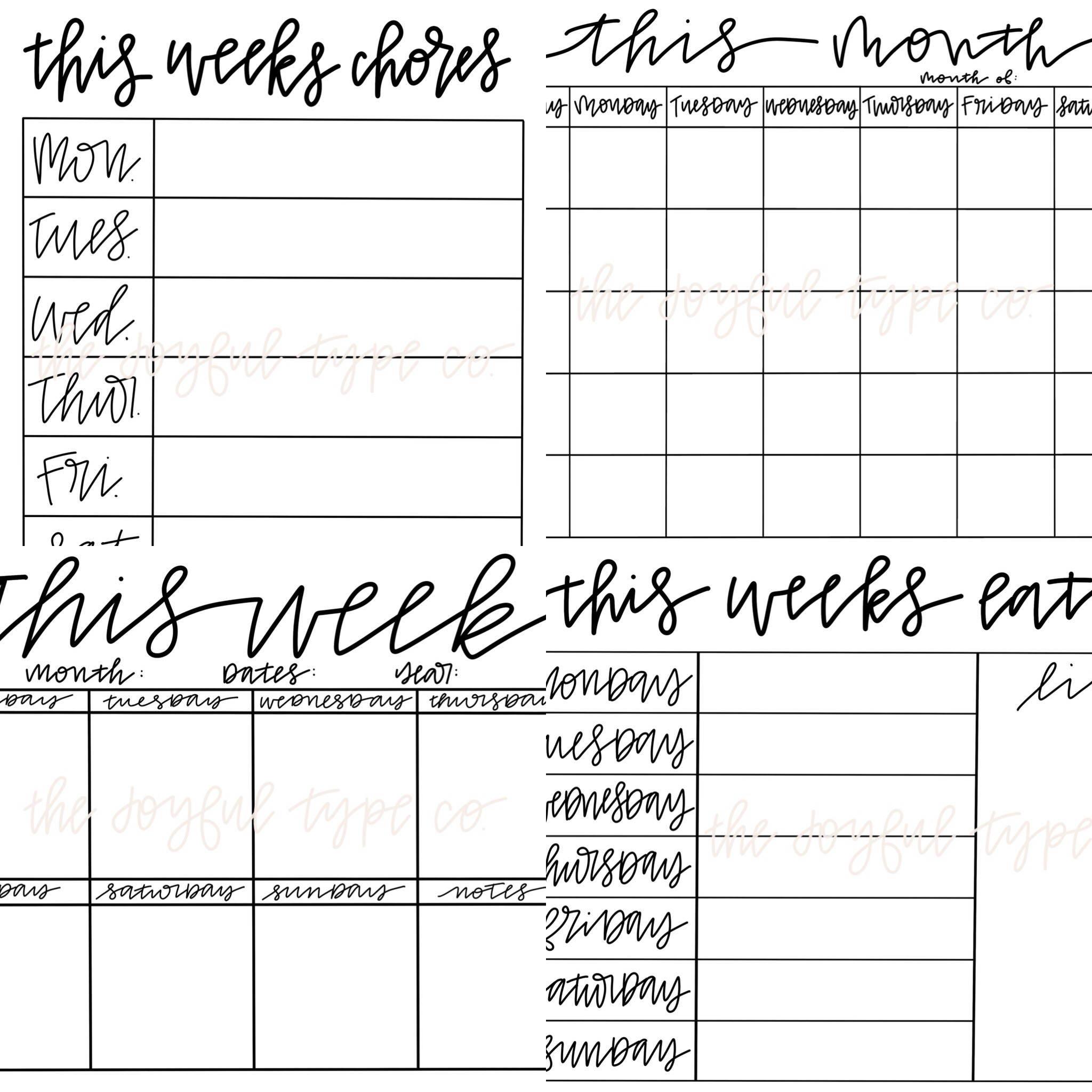 Printable Calendar / Printable Menu / Printable Chore ...
