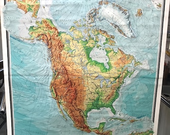 """Original 1972 North America: Physical (Relief-like) and Political Classroom Map (73""""L x 60""""W)"""