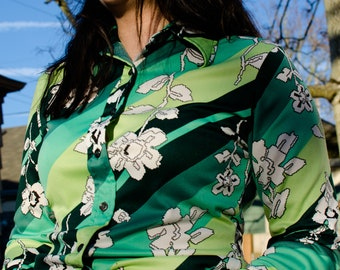 70s-style Disco Funky Green Floral Blouse - US Women's Size S