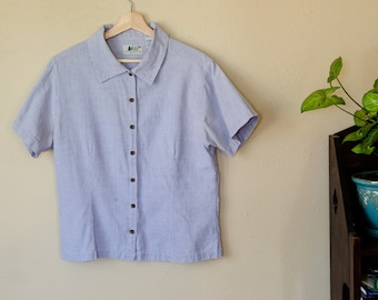 Vintage 90s Authentic REI Button Up Blue and White Striped Blouse - US Women's Size M