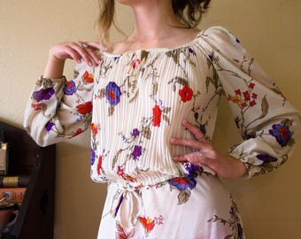 Vintage 70s Sheer Floral Blouse, US Women's Size - S/M