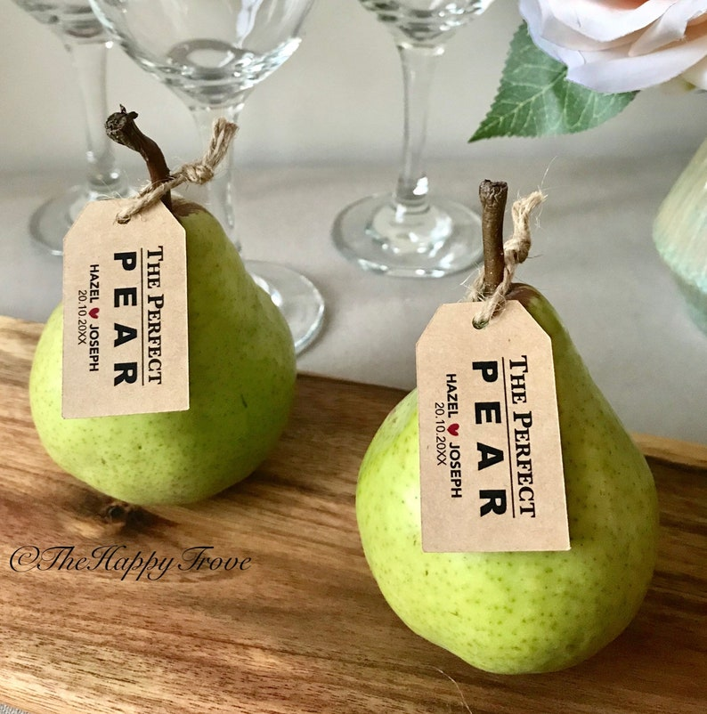 The Perfect Pear Tags Fruit Tags Wedding Favours Budget Etsy