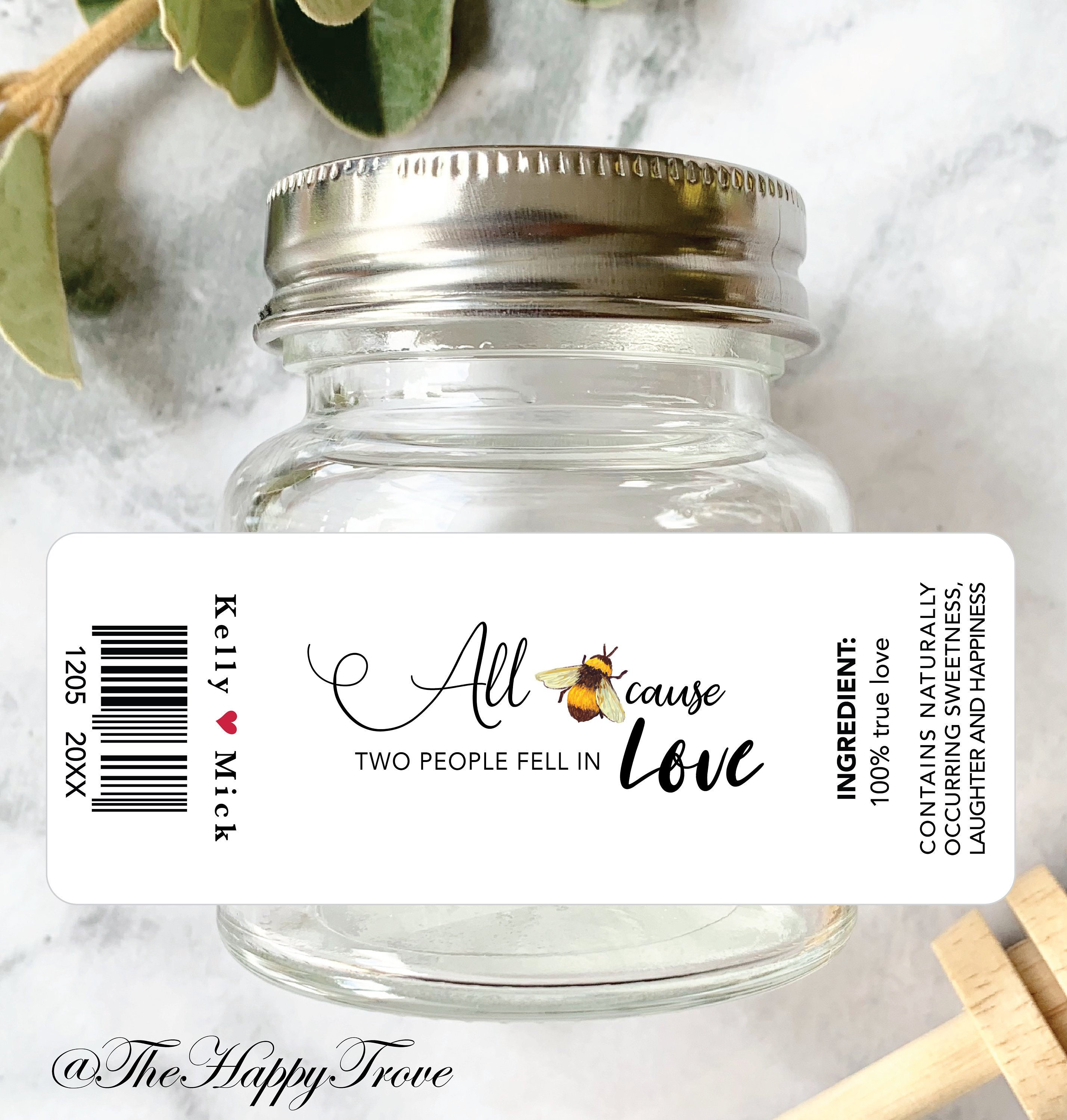 All beecause two people fell in love stickers for honey favors personalised stickers wedding favours bridal shower