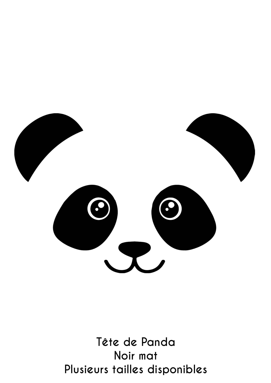 T te de panda en flex thermocollant noir mat taille au - Tete de panda dessin ...