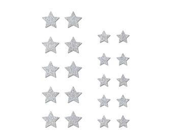 Set of 20 stars in Flex fusible silver glitter