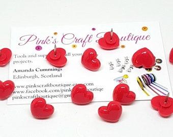 Novelty Push Pins. Red Heart Pushpins. Red Heart Thumb Tacks. Novelty Drawing Pins. Heart Push Pins. Notice Board Pins. Novelty Stationery.