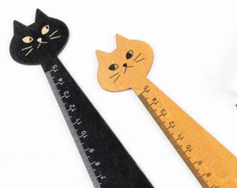 Cat Ruler. Cute Cat Stationery. Back To School Supplies. Office Supply Gift. Cat Lover Present. Animal Ruler. Wooden Animal Stationery.