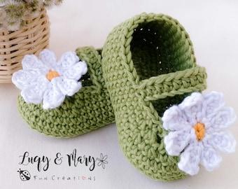 BUY 1 GET 2 Crochet Pattern -  Daisy Love Booties, Digital PDF file, Patterns & How to, Crochet Baby Booties, Crochet Mary Janes