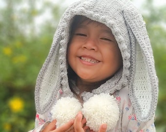 BUY 1 GET 2 - Crochet Patterns, Crochet Bunny, Bunny Hat, Hooded Animal Hat, Toddler Child Hat, Hat Hoodie Pattern