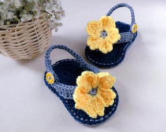 CROCHET PATTERN -  Yellow Blossom Baby Flip-Flops - Digital PDF file