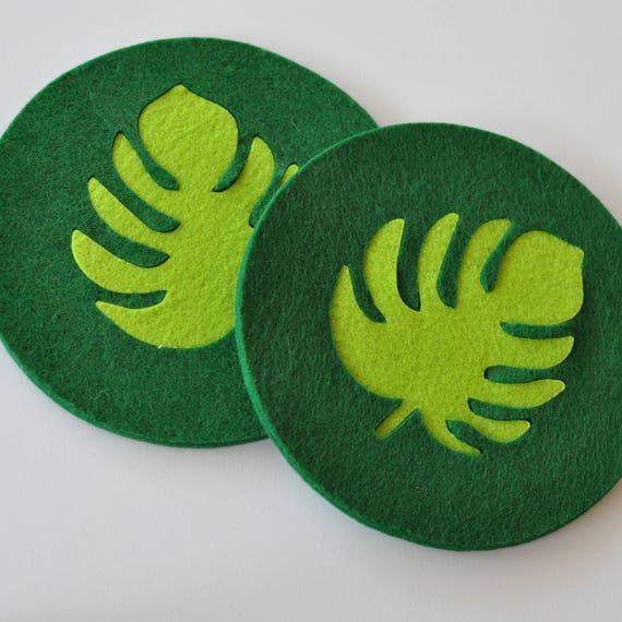 Monstera Leaf Large Felt Coasters 15cm Tropical Decor Etsy