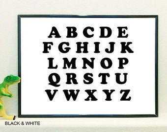 B&W Alphabet poster in English and Spanish upper and lower case