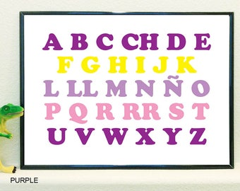 Alphabet poster in English and Spanish upper and lower case
