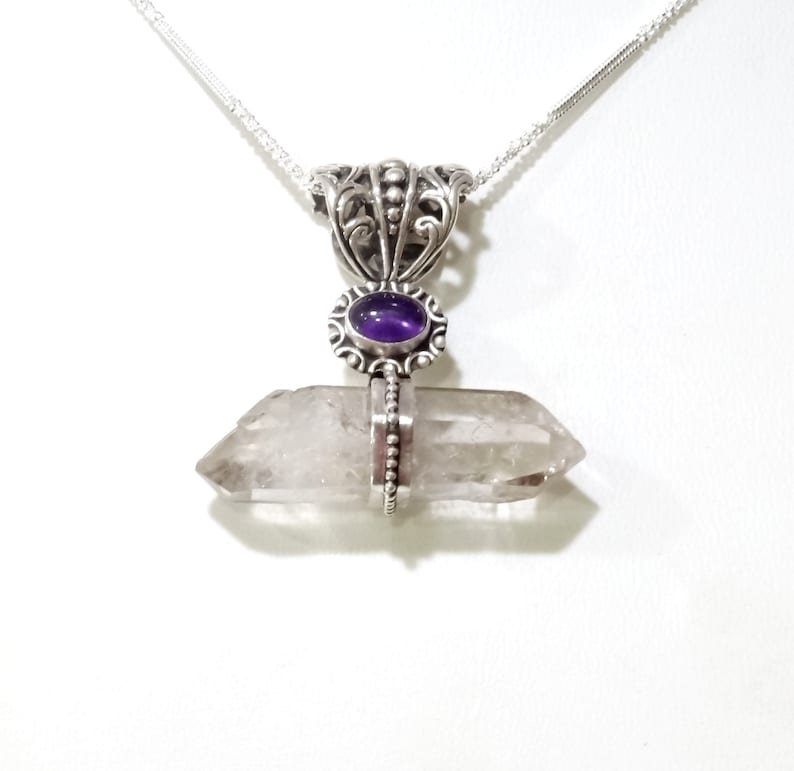 Quartz Handmade Pendant Free Shipping Amethyst Sterling Silver Silver Necklace Gemstone Jewelry Design Crystal Point