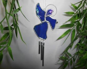 "Carillon ""Ange gardien"" en verre bleu irisé, vitrail Tiffany"