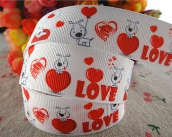 74 - Dog Ribbon - Love - grosgrain - 25 mm sold by 50 CM - Dog ribbon