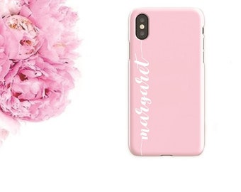 Pink iPhone case | Pink Samsung case | Case with name | Custom