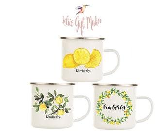 Mug, tasse d'émail citron, tasse d'acide citrique émail, tasse d'émail blanc, tasse d'émail autoriserez-vous, tasse d'émail cru, Camping tasse d'émail en émail