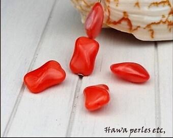 "5 beads Czech glass ""Rectangular"" 15 x 10 mm Orange Pearl"