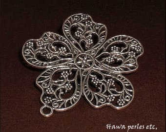 """1 large charm pendant """"Flower"""" filigree 55 x 51 mm in antique silver Metal"""
