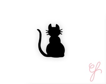 Cat Silhouette Vinyl Sticker-handmade sticker-pretty planning-scrapbooking-bullet journaling