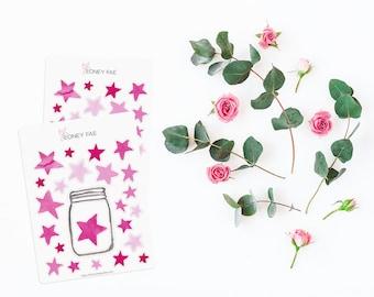 Pink Star Tracker Stickerset-watercolor sticker-pretty planning-scrapbooking-bullet journaling