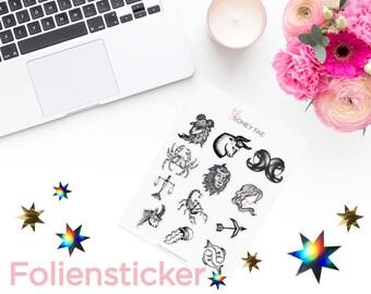 Foiled drawn Zodiac Stickerset-watercolour sticker-Pretty planning-scrapbooking-bullet journaling
