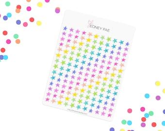 Bright Confetti stars Stickerset-Watercolour sticker-Pretty planning-scrapbooking-bullet journaling