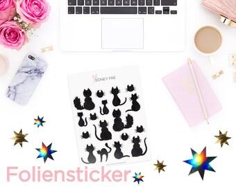Foiled Shadow cats Stickerset-Watercolour sticker-Pretty planning-scrapbooking-bullet journaling