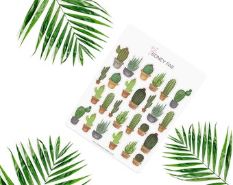 Cacti Stickerset-Watercolor sticker-pretty planning-scrapbooking-bullet journaling