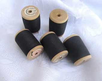 Lot of 5 spools of  thread, thick sewing thread, new cotton black thread, base thread for tapestry, natural cotton thread 1950s, crochet