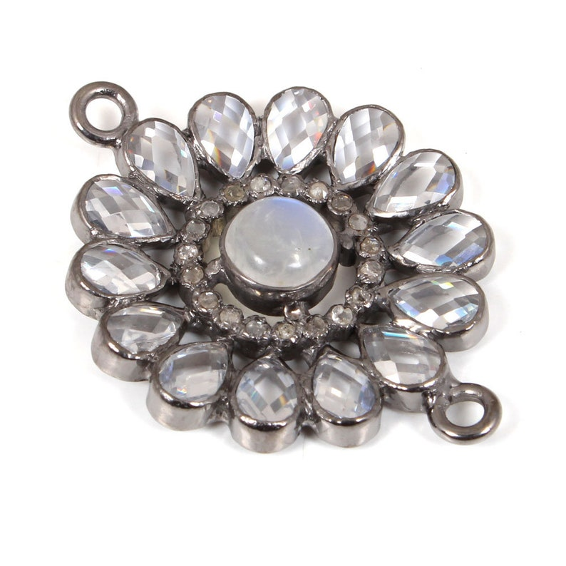 Pave Diamond Connector Moon Stone Connector Charm 92.5 Sterling Silver 29x29 mm Diamond Moon Stone White Topaz Charm Flower Connector