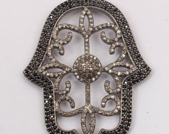 Diamond Hansa Pendant, Hansa Pendant ,Black Spinal  Pendant, 92.5 Sterling Silver Pendant