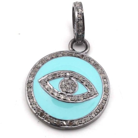 Diamond Enamel Pendant 92.5 Sterling Silver Pendant,Handmade Pendant,Enamel Pendant Antique Pendant,Pave Setting Jewelry Victorian,