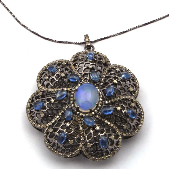 Pave Pendant Diamond Pendant 925 Sterling Silver Pave Tanzanite /& Diamond ARROW ANTIQUE Pendant