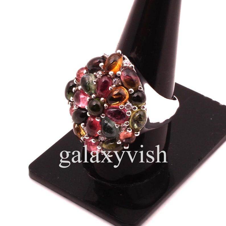 Tourmaline Ring # Designer Ring # 925 Sterling Silver Ring # Handmade Ring # Tourmaline /& White Topaz Ring # Antique Ring # High Finish