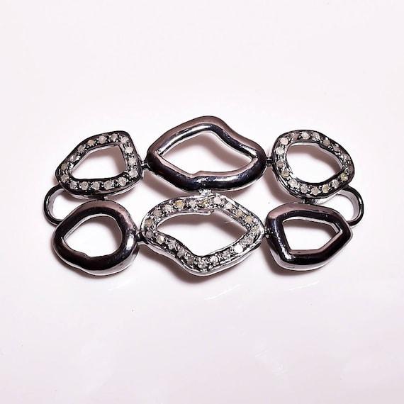 Connector Bracelets Connector Natural Bracelets Victorian Handmade Link Bracelets Pave Setting Solid Silver,