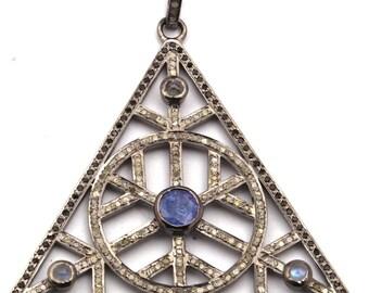 Pave Pendant, Diamond Pendant 925 Sterling Silver Pave Tanzanite, Moonstone, Spinel & Diamond TRAINGLE  Pendant