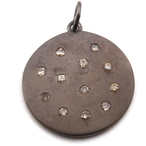 Antique Pendant,Pave Setting Jewelry Natural Diamond  Pendant Victorian Eagle Eye Pendant 92.5 Sterling Silver Pendant,Handmade Pendant