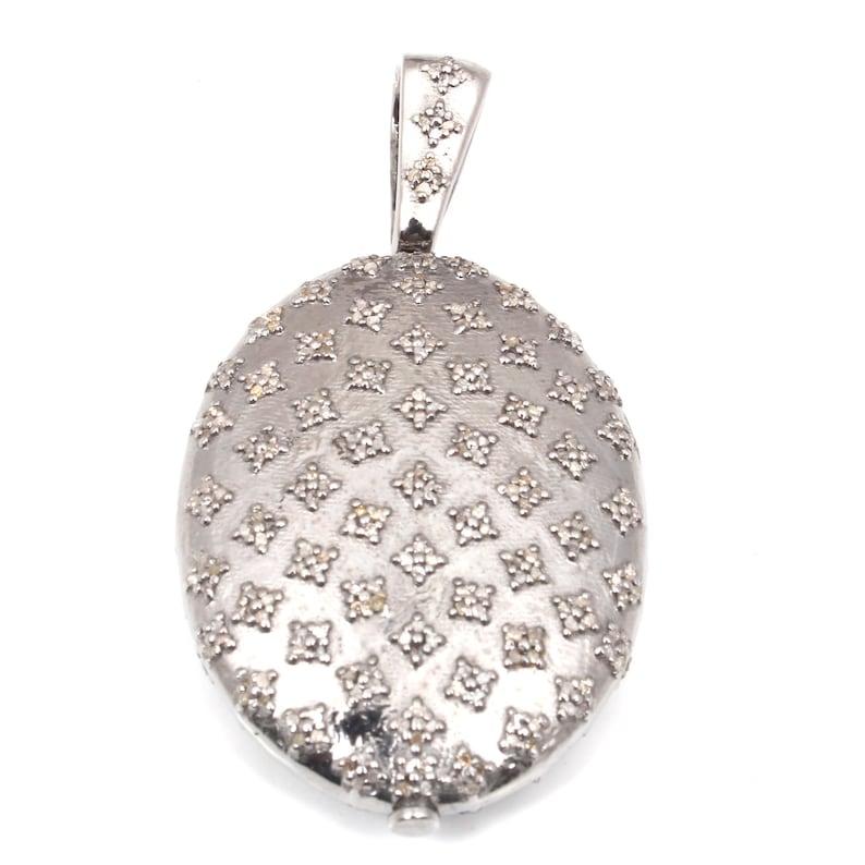 92.5 Sterling Silver Pendant Pave Diamond Pendant Handmade Pendant,Diamond Pendant Antique Jewelry