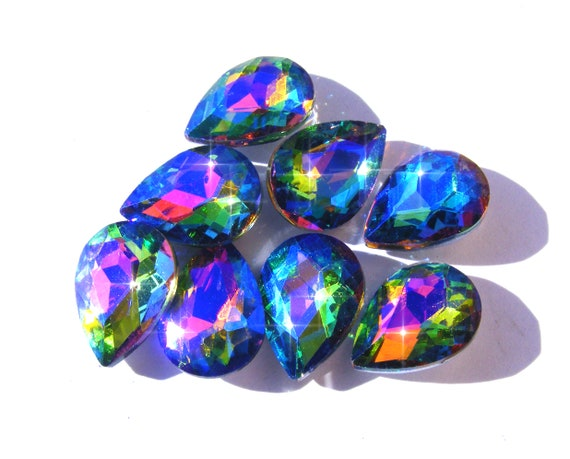 20 perles de verre taillé vert noir bleu 10 8mm Abacus handmade Crystal