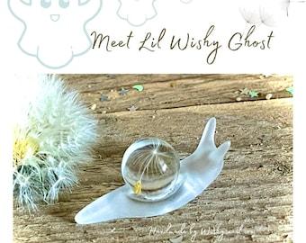 Resin art snail,dandelion wish gift,snail gift,snail globe,wish gift,Halloween snail,ghost snail