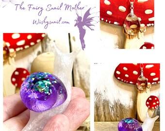 Handmade resin art snail gift,Dandelion Wishes Snail,dandelion wish gift,enchanted gift,gift for her