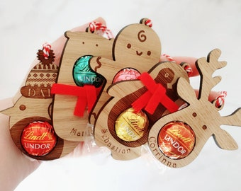 Pack of 5 Personalised MIXED Christmas Decorations, penguin, reindeer, robin, gingerbread man, decoration, personalised, chocolate
