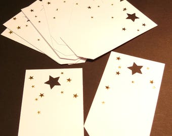Set with gold stars gift tags
