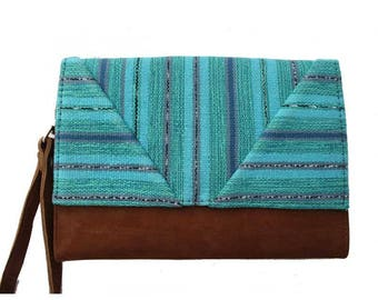 Turquoise Bohemian chic organic cotton and cover camel suede