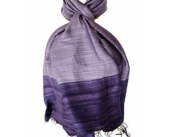 soft and satiny fine silk scarf dark blue