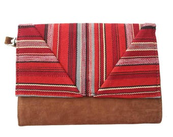 Red boho chic organic cotton and cover camel suede