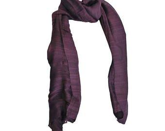 soft and satiny fine silk scarf dark purple